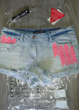 Шорты джинсовые love label neon embroidered denim shorts 8