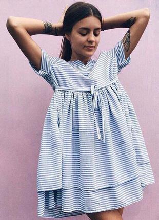 Очень красивое нежное платье сарафан из натурального льна в полоску! оверсайз