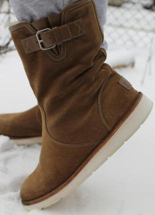 Замшевые,утепленные сапоги ботинки сапожки на низком ходу gucci оригинал