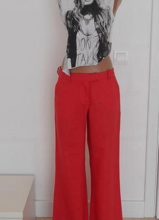 Трендовые  брюки-клёш из льна штаны брюки