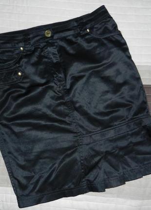 Супер юбка атласная черная