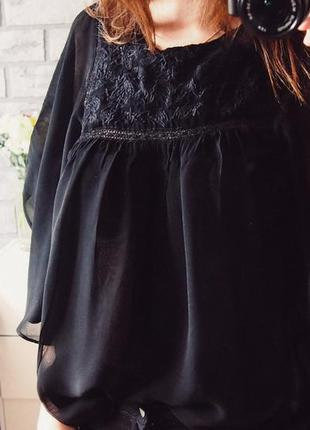 Черная блуза с вышивкой zara trafaluc размер m