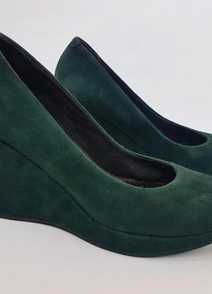 Туфли на танкетке vagabond florence изумрудного цвета замша кожа