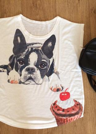 Яркая и легкая футболка на лето с пёсиком, идёт как свободная