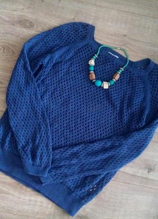 Кофта-свитер крупной вязки, хлопок, р-р м-l