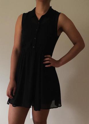Черное шифоновое платье h&m divided s-m
