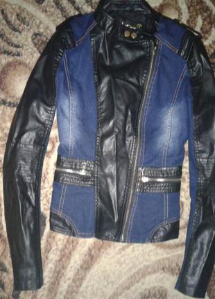 Крута куртка з джинсу і шкірзаму