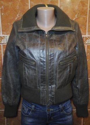 Кожаная натур.байкерская куртка бомбер