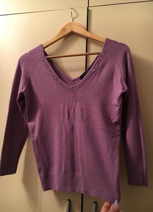 Джемпер кофта с бисером сиреневый фиолетовый