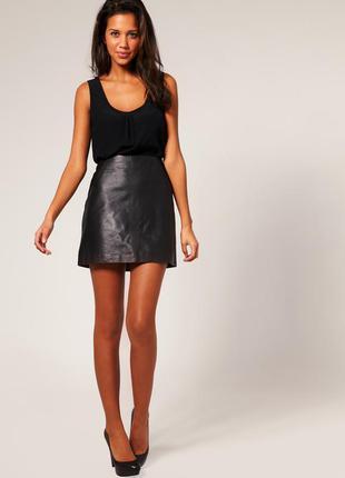 Кожаная юбка kookai мини натуральная кожа разм 34 евро
