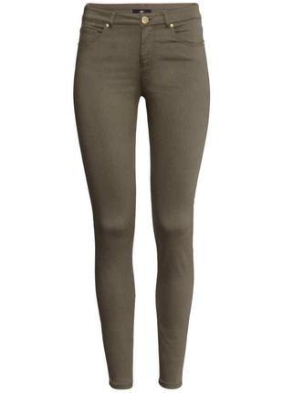 Узкие джинсы h&m super skinny хаки h&m скинни