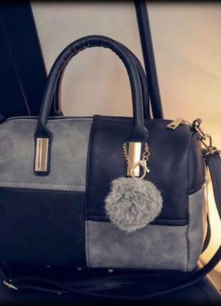 Женская сумка с короткими ручками/вместительная сумка/серая сумка/длинный ремешок