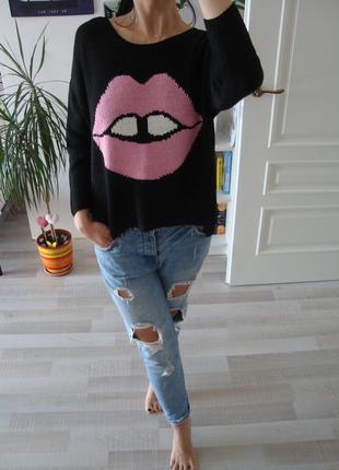 Оверсайз свитер с губами h&m