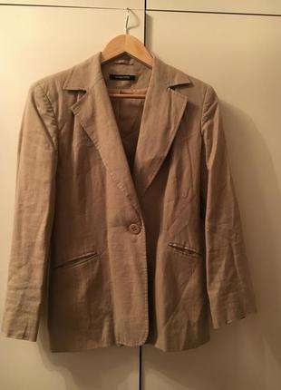 Бежевый льняной жакет пиджак блейзер песчаного цвета