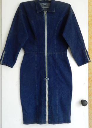 100 % коттон джинсовое платье кимоно force(длина-111см пог-57см пот-40см поб-53см)