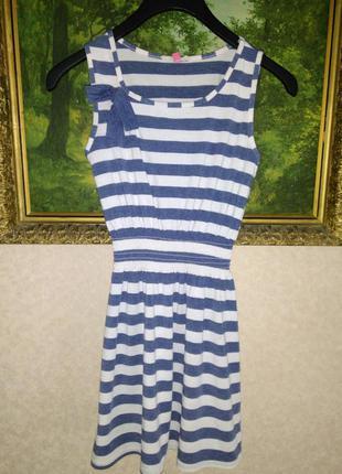 Легкое платье морячка полоска бантик