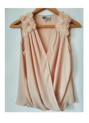 Нежно розовая шифоновая блузка размер s-м