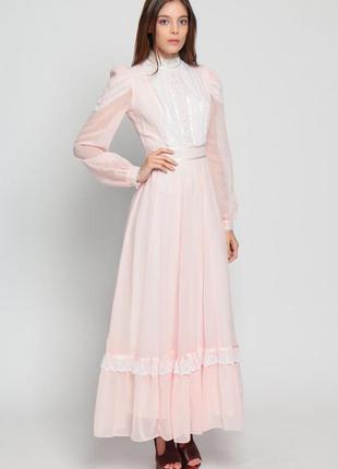 Винтажное платье  от gunne sax  розовое с белыми кружевами
