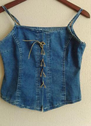 Новая красивая джинсовая майка-маечка-топ!