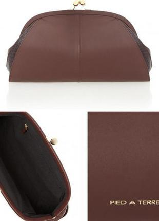 Модный кожаный клатч марсала (ориг.цена 62£)