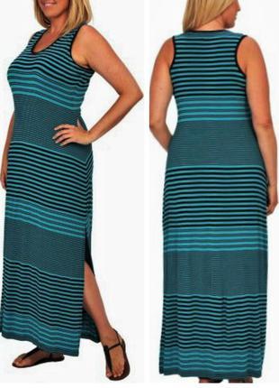 Брендовое платье танкини (оригинал) бирюзовое в полоску 2 размера l и  xl