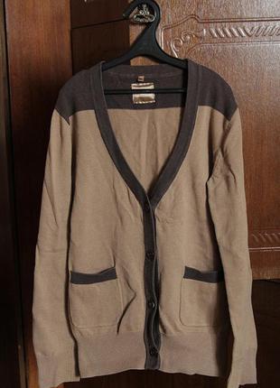 Стильная, коричневая кофта/кофточка на пуговицах, с карманами