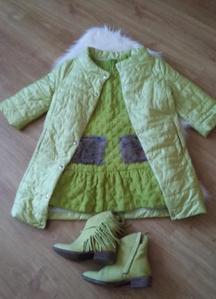 Курточка+платье с меховыми карманами