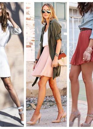 Модный тренд нюдовая плиссерованная  шифоновая юбка до колен