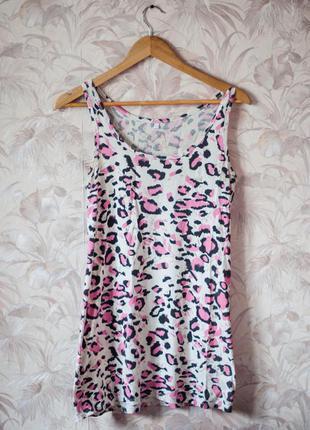 Майка с розовым принтом леопард b-soul