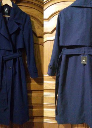 Нове темно-синє пальто тренч плащ
