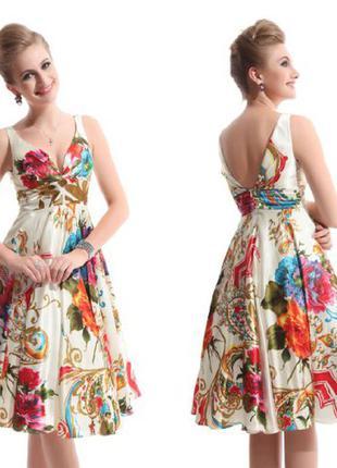 Роскошное платье ever pretty цветочный принт, р. англ.16, xl