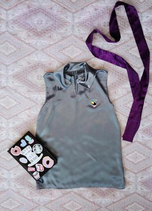 Шелковая блуза, блуза-майка с пеликаном