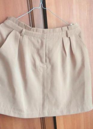 Бежевая юбка с подкладкой