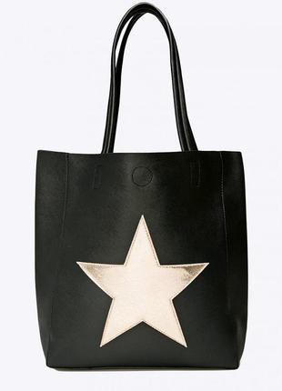"""Новая,с биркой, большая,вместительная черная сумка-шоппер """"под сафьян"""" от бренда befree"""