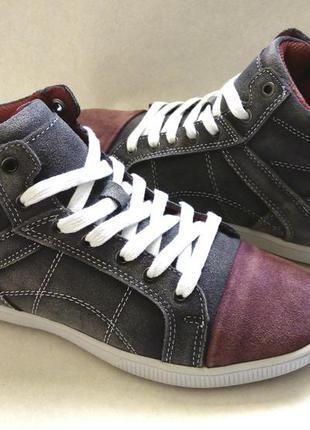 Распродажа - модные кроссовки хайтопы тм golderr 36-41 р. р. - натур. замша