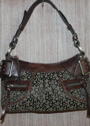Оригинальная сумочка от dkny кожа и канвас