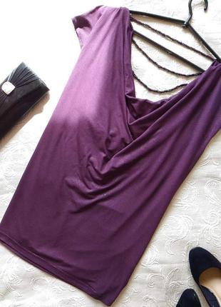 Нарядная блуза с пропиткой . с открытой спинкой , украшенная тремя нитками бусин)