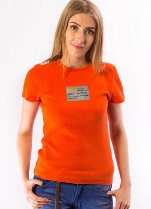 Футболка женская с нашивкой оранжевая dkny active (m)