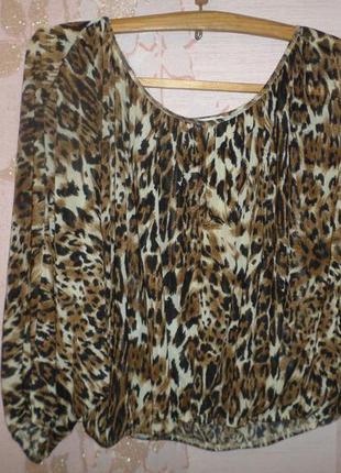 Блузка футболка разлетайка леопардовый принт