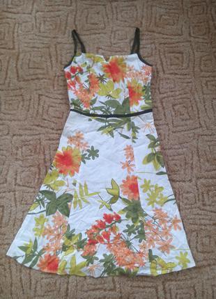Легкое летнее катоновое платье в цветы scott