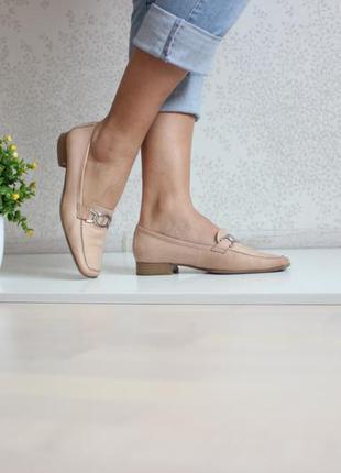 Кожаные нюдовые туфли лоферы, натуральная кожа, бренд janet d