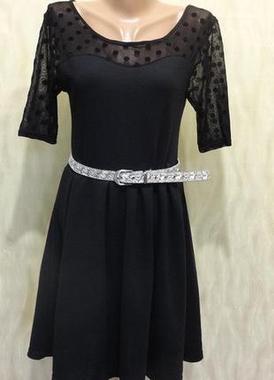 Черное платье в складку с шифоновой вставкой по верху tammy, р. 8
