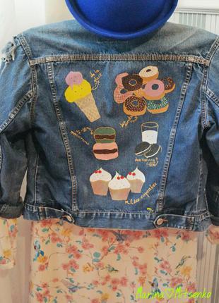 Неповторна смачненька джинсова подерта куртка авторський розпис hand made