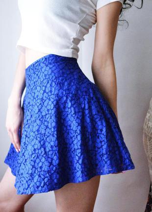 Юбка синяя ажурная  topshop