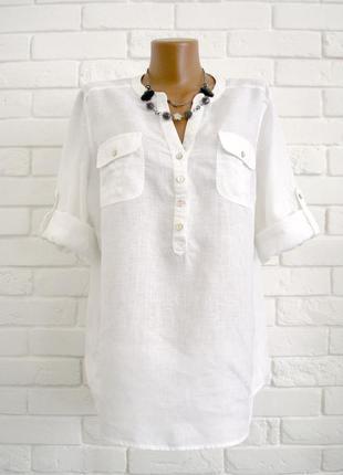 Красивая рубашка из льна m&s uk16 большой размер в идеальном состоянии