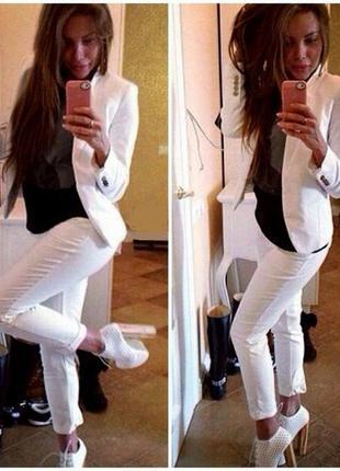Люкс! стильный белый костюм габардин