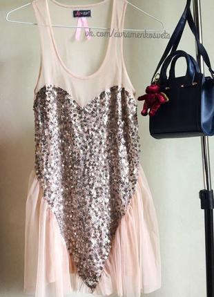 Стильная блуза с пайетками сердце lipsy london розовая