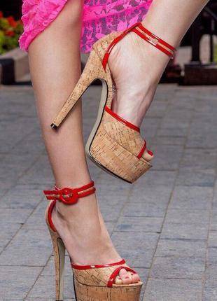 Босоножки женские/коричневые/высокий каблук/танкетка/платформа/каблук