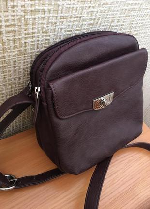 Супер сумка через плечо цвета марсала