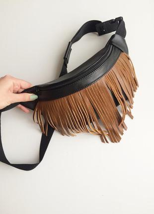 Поясная сумка ,бананка с темно-коричневой бахромойсумка из натуральной кожи